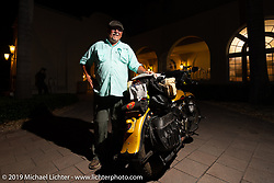 Kansan Terry Richardson with his 1946 Harley-Davidson FL Knucklehead after finishing the Cross Country Chase motorcycle endurance run from Sault Sainte Marie, MI to Key West, FL. (for vintage bikes from 1930-1948). The Awards Banquet on the beach at Casa Marina resort was a great way to wrap the 2,368 mile ride of the Cross Country Chase. Sunday, September 15, 2019. Photography ©2019 Michael Lichter.