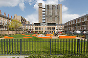 Balfron Tower on 27th April 2016 in London, United Kingdom. The architecturally important Balfron Tower is a 26-storey residential building in Poplar, a district of the London Borough of Tower Hamlets in the East End of London. It was designed by Ernő Goldfinger and built in a brutalist style for the London Country Council. It and opened in 1967. The tower forms part of the Brownfield Estate. It has been a Grade II listed building since 1996. Balfron Tower is stylistically similar to Goldfingers later Trellick Tower in West London. Recently, residents and campaigners are battling to prevent a regeneration of the celebrated tower.