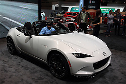 11 February 2016: Mazda MX-5 Miata convertible.<br /> <br /> First staged in 1901, the Chicago Auto Show is the largest auto show in North America and has been held more times than any other auto exposition on the continent.  It has been  presented by the Chicago Automobile Trade Association (CATA) since 1935.  It is held at McCormick Place, Chicago Illinois<br /> #CAS16