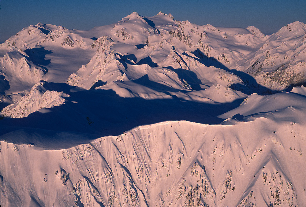 Aerial view of Mount Olympus, morning light, winter, Olympic National Park, Washington, USA