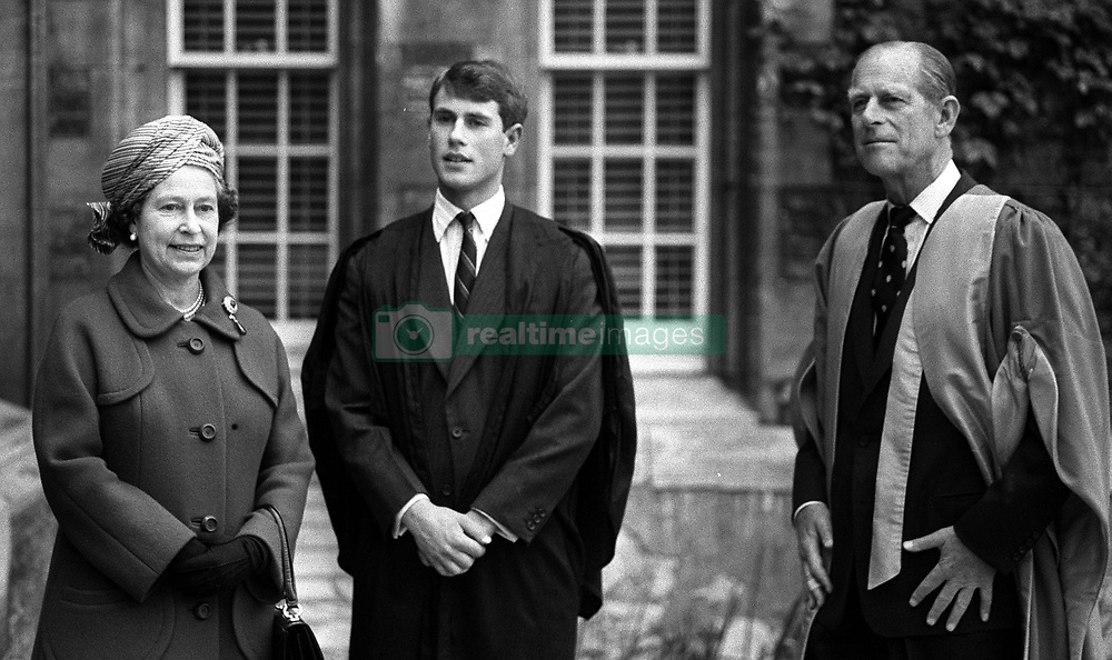 File photo dated 16/05/84 of Queen Elizabeth II and the Duke of Edinburgh visiting Prince Edward at Jesus College, during an official visit to Cambridge. The Royal couple will celebrate their platinum wedding anniversary on November 20.