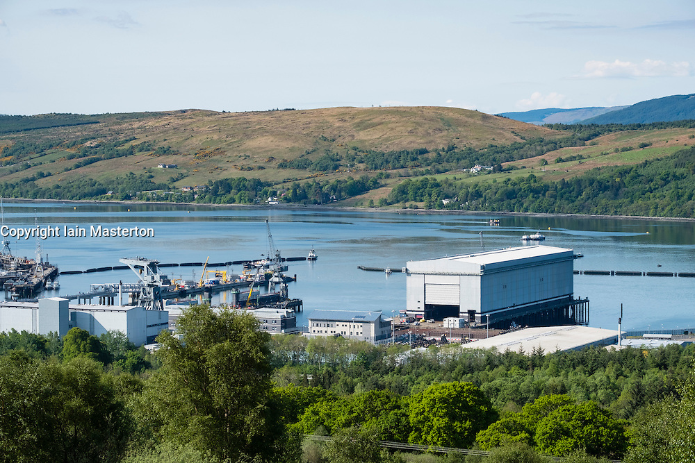 View of Royal Navy base, Clyde, at Faslane on the Gare Loch in Argyll and Bute Scotland United Kingdom