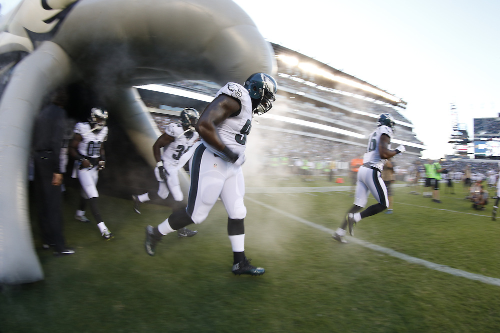 Philadelphia Eagles nose tackle Bennie Logan #96 and the Philadelphia Eagles enter the field before for the Baltimore Ravens v Philadelphia Eagles NFL Preseason game at Lincoln Financial Field in Philadelphia on Saturday, August 22nd 2015. The Eagles won 40-17. (Brian Garfinkel/Philadelphia Eagles)
