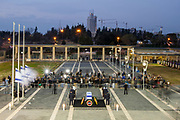 January 12, 2014 - Jerusalem, Israel - The coffin of former Israeli Prime Minister Ariel Sharon lies in state at the entrance square of the Israeli Knesset (parliament) in Jerusalem. Former Israeli Prime Minister Ariel Sharon, a controversial figure that altered the course of the Middle East, died at a hospital near Tel Aviv in central Israel at the age of 85. (Credit Image: © Omer Messinger/ZUMAPRESS.com)