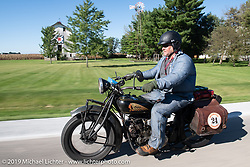 Kelly Modlin riding his 1928 Indian in the Motorcycle Cannonball coast to coast vintage run. Stage 5 (229 miles) from Bowling Green, OH to Bourbonnais, IL. Wednesday September 12, 2018. Photography ©2018 Michael Lichter.