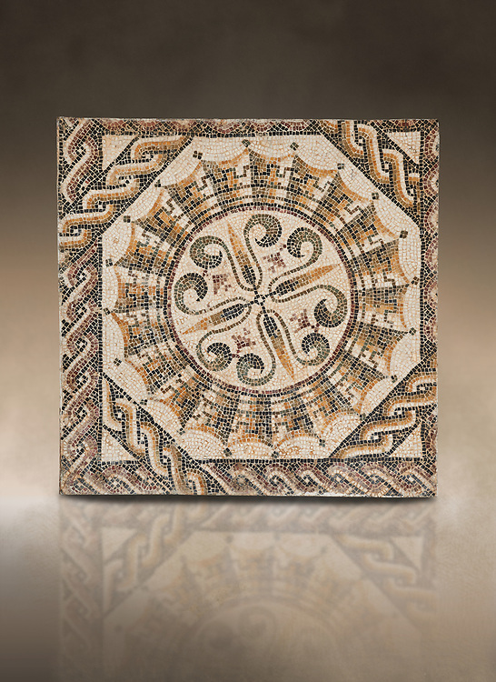 Pictures of a geometric Roman mosaic, from the ancient Roman city of Thysdrus. 3rd century AD. El Djem Archaeological Museum, El Djem, Tunisia. Against an art background .<br /> <br /> If you prefer to buy from our ALAMY PHOTO LIBRARY Collection visit : https://www.alamy.com/portfolio/paul-williams-funkystock/roman-mosaic.html . Type - El Djem - into the LOWER SEARCH WITHIN GALLERY box. Refine search by adding background colour, place, museum etc<br /> <br /> Visit our ROMAN MOSAIC PHOTO COLLECTIONS for more photos to download as wall art prints https://funkystock.photoshelter.com/gallery-collection/Roman-Mosaics-Art-Pictures-Images/C0000LcfNel7FpLI