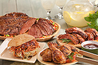 Lots of meat! Brisket, ribs, chicken and a bbq pulled pork sandwich.