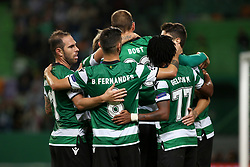 November 22, 2017 - Lisbon, Portugal - Sporting's forward Bas Dost from Holland celebrates with teammates after scoring during the UEFA Champions League group D football match Sporting CP vs Olympiacos FC at Alvalade stadium in Lisbon, Portugal on November 22, 2017. Photo: Pedro Fiuza (Credit Image: © Pedro Fiuza via ZUMA Wire)