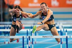 Zoe Sedney, Nadine Visser in action on the 60 meter hurdles during AA Drink Dutch Athletics Championship Indoor on 21 February 2021 in Apeldoorn.