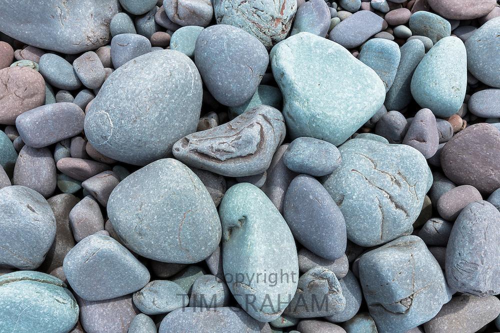 Pebbles in pastel colours on Bossington Beach, Somerset, UK