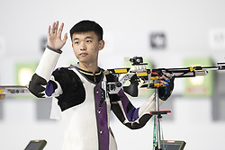 BUENOS AIRES, Oct. 8, 2018  Zhang Changhong of China greets spectators before the Men's 10m Air Rifle Final at the 2018 Summer Youth Olympic Games in Buenos Aires, capital of Argentina, Oct. 7, 2018. Zhang Changhong ranked the 4th place with 205.6 points. (Credit Image: © Li Ming/Xinhua via ZUMA Wire)