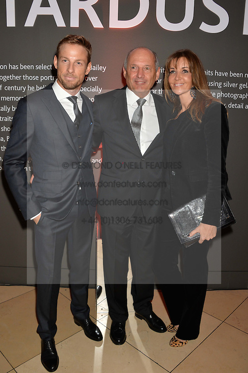 Left to right, JENSON BUTTON, RON DENNIS and CAROL WEATHERALL at a private view of photographs by David Bailey entitled 'Bailey's Stardust' at the National Portrait Gallery, St.Martin's Place, London on 3rd February 2014.