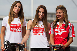 © Licensed to London News Pictures. 27/07/2013. London, UK. Charlie Webster, Melanie C and Zoe Hardman at the London Triathlon 2013 at the ExCel centre in Royal Victoria Dock in East London. Photo credit : Vickie Flores/LNP