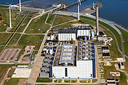 Nederland, Groningen, Eemshaven, 01-05-2013; Eemscentrale van Electrabel - vijf gasgestookte STEG-eenheden aan de monding van de rivier de Eems..Eems power plant Electrabel - five gas-fired Steam/Gas units at the mouth of the river Ems..luchtfoto (toeslag op standard tarieven).aerial photo (additional fee required).copyright foto/photo Siebe Swart