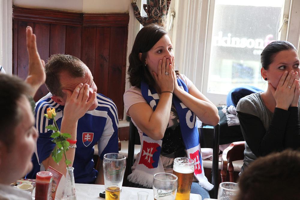 Slovakia v Paraguayat U vrany, Willesden Green.<br /> <br /> <br /> Copyright: Jonathan GoldbergWorld Cup 2010 watched  on London TV<br /> Slovakia v Paraguay, U Vrany, Willesden