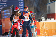 Mathilde Gremaud, Switzerland, SILVER walking with Isabel Atkin, Great Britain, BRONZE to the Women's Ski Slopestyle flower ceremony at the Pyeongchang Winter Olympics on 17th February 2018 at Phoenix Snow Park in South Korea
