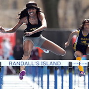Shayla Broughton, Medgar Evers College Prep High School, winning the Girls 100m Hurdles during the 2013 NYC Mayor's Cup Outdoor Track and Field Championships at Icahn Stadium, Randall's Island, New York USA.13th April 2013 Photo Tim Clayton
