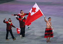 Tonga flag-bearer Pita Taufatofua during the Opening Ceremony of the PyeongChang 2018 Winter Olympic Games at the PyeongChang Olympic Stadium in South Korea. PRESS ASSOCIATION Photo. Picture date: Friday February 9, 2018. See PA story OLYMPICS Ceremony. Photo credit should read: David Davies/PA Wire. RESTRICTIONS: Editorial use only. No commercial use