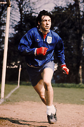 England goalkeeper Gordon Banks at a training session