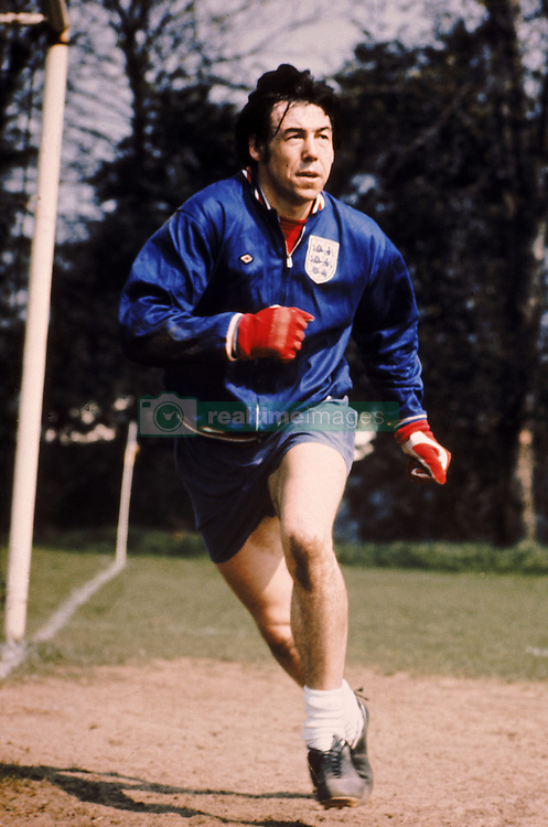 England goalkeeper Gordon Banks at a training session