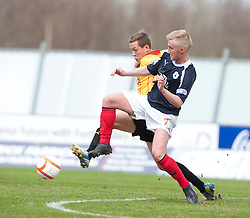 Partick Thistle's Sean Welsh andFalkirk's Craig Sibbald..half time ; Falkirk 0 v 0 Partick Thistle, 20/4/2013..© Michael Schofield.