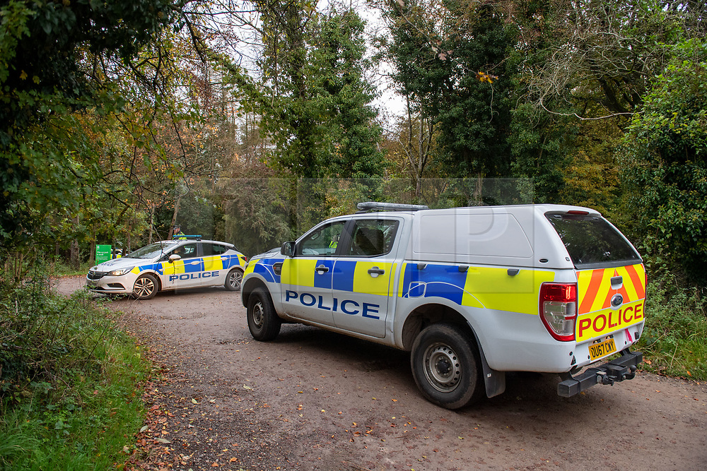© Licensed to London News Pictures. 24/10/2020. Watlington Hill, UK. A police utility vehicle arrives at an entrance to Watlington Hill National Trust Estate. A murder investigation has been launched by Thames Valley Police after the body of a woman in her sixties was located in woodland in the Watlington Hill National Trust Estate at approximatly 5:53pm on Friday 23/10/2020. Photo credit: Peter Manning/LNP