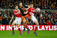 Sheffield Wednesday forward  Atdhe Nuhiu (44)  is held by Middlesbrough defender Bernardo Espinosa (5)  during the The FA Cup match between Middlesbrough and Sheffield Wednesday at the Riverside Stadium, Middlesbrough, England on 8 January 2017. Photo by Simon Davies.