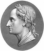 Augustus Caesar - Gaius Julius Caesar Octavianus (BC 63-14 AD), first Roman Emperor from 27 BC. Profile portrait wearing laurel wreath. Late 18th century copperplate engraving