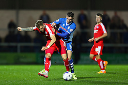 Matthew Lund of Rochdale and Dan Jones of Chesterfield  - Mandatory byline: Matt McNulty/JMP - 07966 386802 - 06/10/2015 - FOOTBALL - Spotland Stadium - Rochdale, England - Rochdale v Chesterfield - Johnstones Paint Trophy