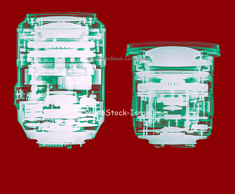 Camera lens under x-ray. the optical elements can be seen. Nikkor 105mm Micro (left) Sigma 10-20mm zoom (right)