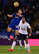 Shinji Okazaki of Leicester city wins a header .Premier league match, Leicester City v Tottenham Hotspur at the King Power Stadium in Leicester, Leicestershire on Tuesday 28th November 2017.<br /> pic by Bradley Collyer, Andrew Orchard sports photography.