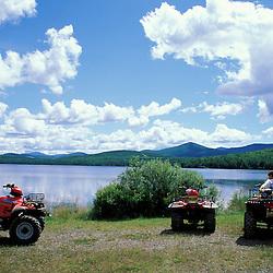 Kokadjo, ME. Northern Forest. Recreation.  ATVers enjoy a beautiful day near the lake.