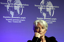 File Photo - French Minister for the Economy, Finance and Employment Christine Lagarde participates at symposium 'New World New Capitalism' in Paris, France on January 7, 2010. The European Council announced Tuesday that Lagarde, the current head of the International Monetary Fund, had been chosen to succeed Mario Draghi as president of the European Central Bank,, whose eight-year term ends in October. Photo by Stephane Lemouton/ABACAPRESS.COM