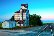 Kansas / Edwards County / Ardell / Gano Grain Elevator / Built In 1915 / National Register Of Historic Places /<br /> Santa Fe Railroad Tracks