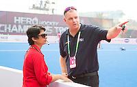 BHUBANESWAR  (INDIA) -   England vs Belgium on day 3 of the Hero Champions Trophy Hockey.  FIH Floormanager Josefine Sequeira with Rogier Warris (Tech. Officer).  Photo KOEN SUYK