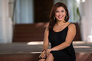 Katrina Delgado poses for her senior portrait at Saint Mary's College of California in Moraga, California, on April 8, 2015. (Stan Olszewski/SOSKIphoto)