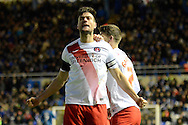 Charlton Athletic midfielder Johnnie Jackson celebrates goal during the Sky Bet Championship match between Birmingham City and Charlton Athletic at St Andrews, Birmingham, England on 21 November 2015. Photo by Alan Franklin.