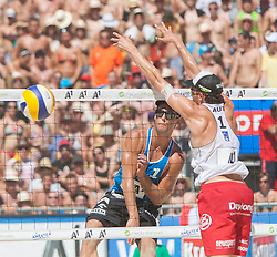 02.08.2013, Klagenfurt, Strandbad, AUT, A1 Beachvolleyball EM 2013, Pool Match Herren, Gruppe Q, Spiel 47, im Bild v.l. Michal KADZIOLA 1 POL, Robin Seidl 1 AUT // during mens group O pool match 47 of the A1 Beachvolleyball European Championship at the Strandbad Klagenfurt, Austria on 2013/08/02. EXPA Pictures © 2013, EXPA Pictures © 2013, PhotoCredit: EXPA/ Mag. Gert Steinthaler