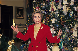 Dec. 6, 1993 - Washington, District of Columbia, United States of America - First lady Hillary Rodham Clinton makes remarks in the Blue Room as she stands in front of the 1993 White House Christmas tree during a press event to preview the holiday decorations at the White House in Washington, D.C. on December 6, 1993..Credit: Ron Sachs / CNP (Credit Image: © Ron Sachs/CNP/ZUMAPRESS.com)