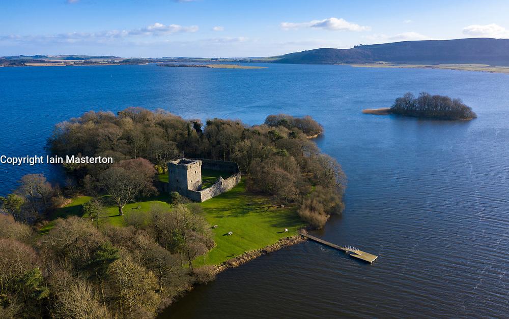 Aerial view of Loch Leven Castle on Loch Leven in Fife, Scotland, UK