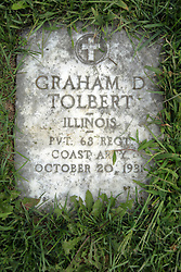 31 August 2017:   Veterans graves in Park Hill Cemetery in eastern McLean County.<br /> <br /> Graham D Tolbert  Illinois  Private 68 Regiment  Coast Artillery  October 20, 1931