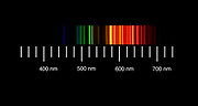 The atomic emission spectra of Neon gas. <br />Neon  vapor emission spectroscopy. Emission spectroscopy examines the wavelengths of photons emitted by atoms or molecules during their transition from an excited state to a lower energy state.
