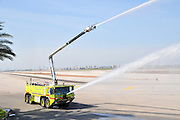Israel, Ben-Gurion international Airport A fire truck on the ready near the runways