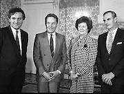 New Fianna Fáil Administration Sworn In.  (R52)..1987..10.03.1987..03.10.1987..10th March 1987..After their win in the recent general election the new Fianna Fáil government,under the leadershio of Charles Haughey, was sworn in and given their seals of offce at a ceremony in Áras an Uachtaráin today. The government received their seals from President Patrick Hillery...Image shows some of the new faces in government, Bertie Ahern, Dr Rory O'Hanlon, Mary O'Rourke and Michael Noonan at the Arás to receive their seals of office.