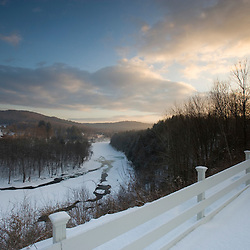 The Ottauquechee River in winter.  Quechee, Vermont.