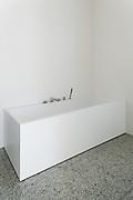interior modern house, white bathroom, bathtub view