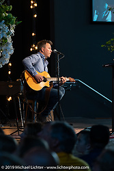 Aaron LaCombe sang and played his guitar during the Arlen Ness Memorial - Celebration of Life at the CrossWinds Church, Livermore, CA, USA. Saturday, April 27, 2019. Photography ©2019 Michael Lichter.