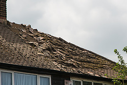 June 22, 2017 - Gravesend, KENT, UK - Gravesend, UK. A roof in Gravesend was almost destroyed this morning by a lightning strike during a thunder storm at the end of the recent heatwave. (Credit Image: © Rob Powell/London News Pictures via ZUMA Wire)