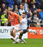 Blackpool's Josh Bowler battles with Preston North End's Alan Browne<br /> <br /> Photographer Dave Howarth/CameraSport<br /> <br /> The EFL Sky Bet Championship - Blackpool v Preston North End - Saturday 23rd October 2021 - Bloomfield Road - Blackpool<br /> <br /> World Copyright © 2020 CameraSport. All rights reserved. 43 Linden Ave. Countesthorpe. Leicester. England. LE8 5PG - Tel: +44 (0) 116 277 4147 - admin@camerasport.com - www.camerasport.com