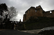 An outside view of the castle, near the Convent of Jesus Christ at Tomar in the Center of Portugal. Built in the 12 th Century by the Poor Knights of Jesus Christ (the Templars), with strong influence from Jerusalem's religious buildings from the time of Crusades, as the Temple of the Rock.Paulo Cunha/4see